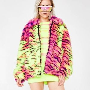 Jaded London Dolls Kill Neon Tiger Print Jacket